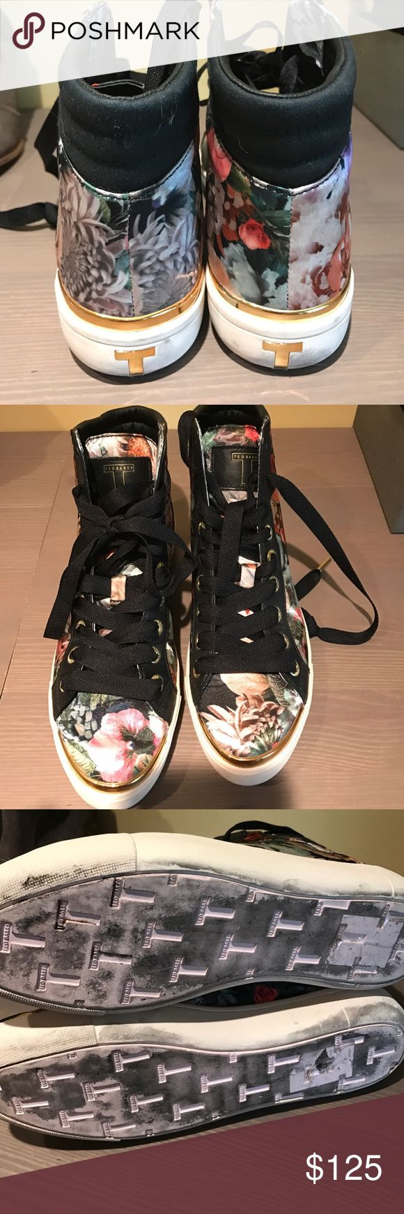 Ted Baker High Top Sneakers Flower Satin Printed High Tops Ted Baker Shoes Sneakers