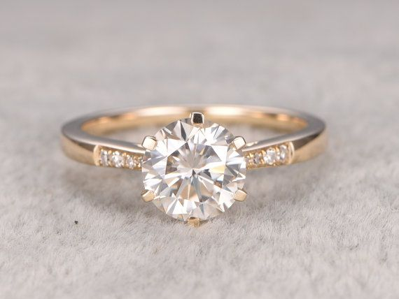 1 ct brillanten Moissanite Engagement ring Gelbgold von popRing