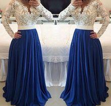 Beste Verkauf V-ausschnitt Sexy Langen Ärmeln White Lace Perle Weiß spitze zu Blau Chiffon Lange Prom Formal Abendkleid YP0267 //Price: $US $165.00 & FREE Shipping //     #dazzupde