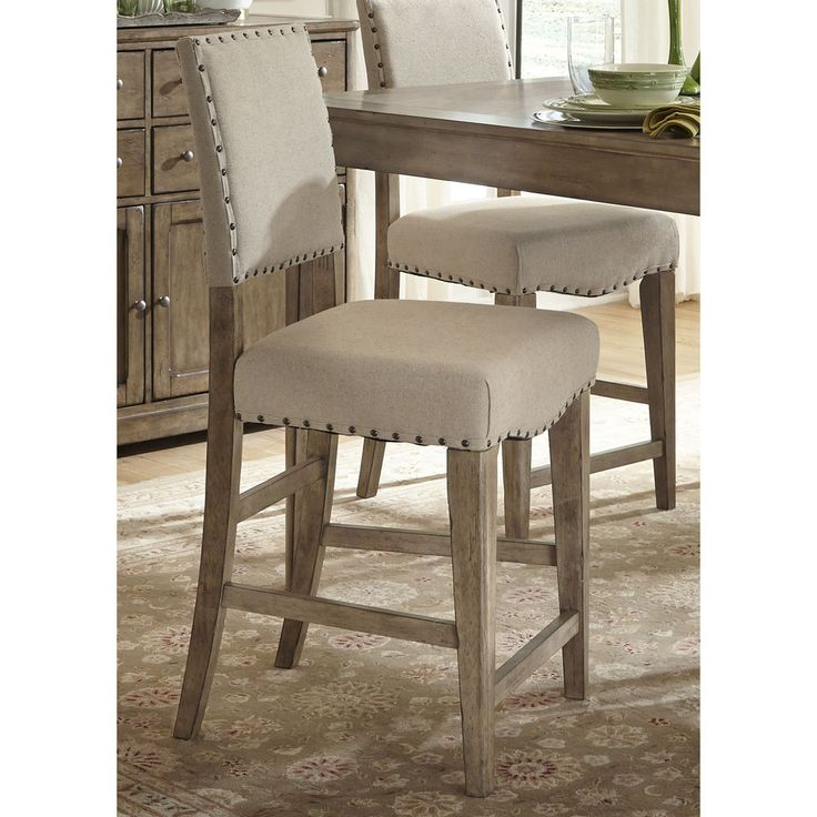 Set Of 2 Kitchen Counter Height Chairs With Microfiber: Liberty Weatherford Upholstered Nailhead Bar Stools (Set