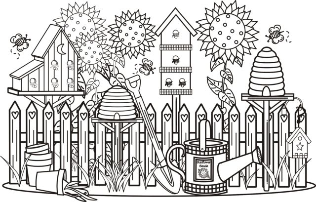 Detailed Garden Coloring Pages | Garden Scene Coloring Page | Greatest Coloring Book