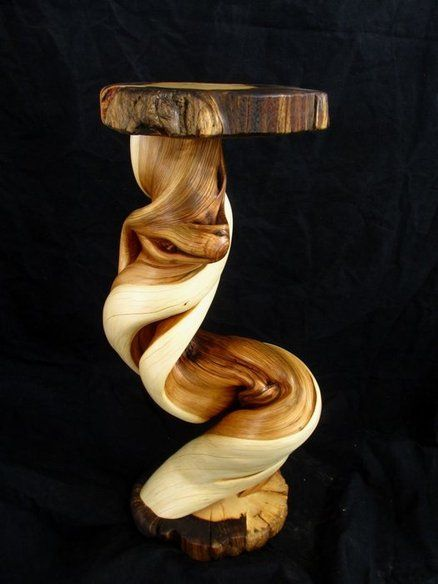 Juniper Log Furniture Custom End Table w Pine Top