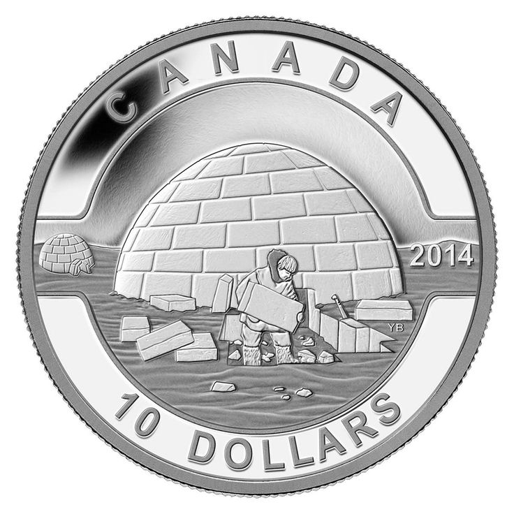 $10 2014 Fine Silver Coin O Canada The Igloo