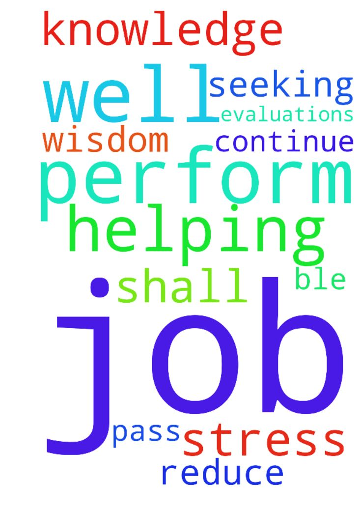 Prayers for helping me to perform well in my job, to - Prayers for helping me to perform well in my job, to reduce stress, to pass job evaluations and for seeking the wisdom and knowledge to perform well. Only then I shall be ble to continue with my job. Posted at: https://prayerrequest.com/t/pqZ #pray #prayer #request #prayerrequest