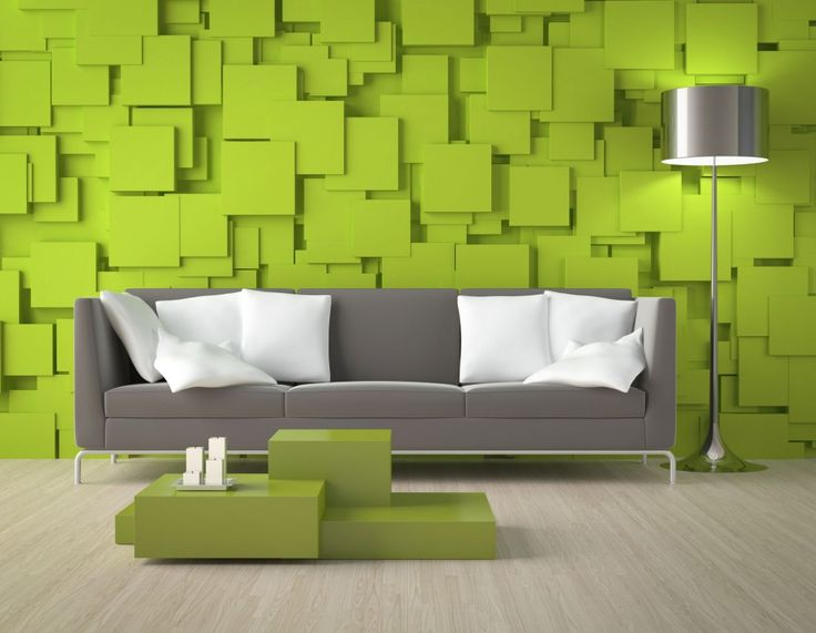 Download Funky Modern Contemporary Living Room With Creative Wall Decor Lime Green Geometric Shape Textured Wall Panel Modern Minimalist Tuxedo Sofa Grey Mirrored Tulip Floor Lamp Laminated Flooring Design Ideas HD Wallpapers
