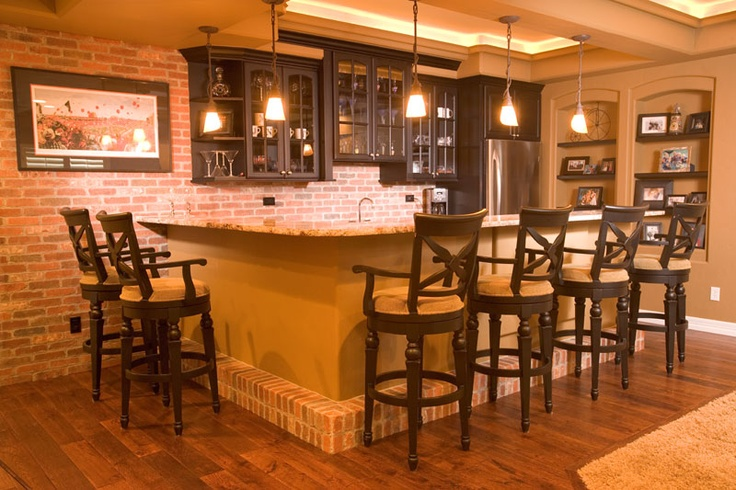 Brick bar bar lighting dark cabinets basement ideas Restaurant lighting ideas