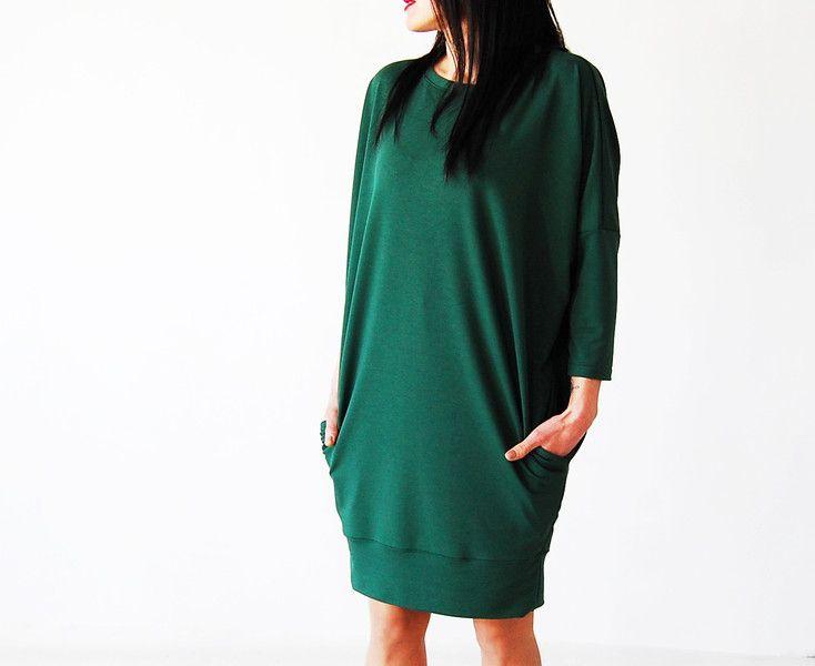 sukienka oversize _ zielona - collibri9 - Kaftany