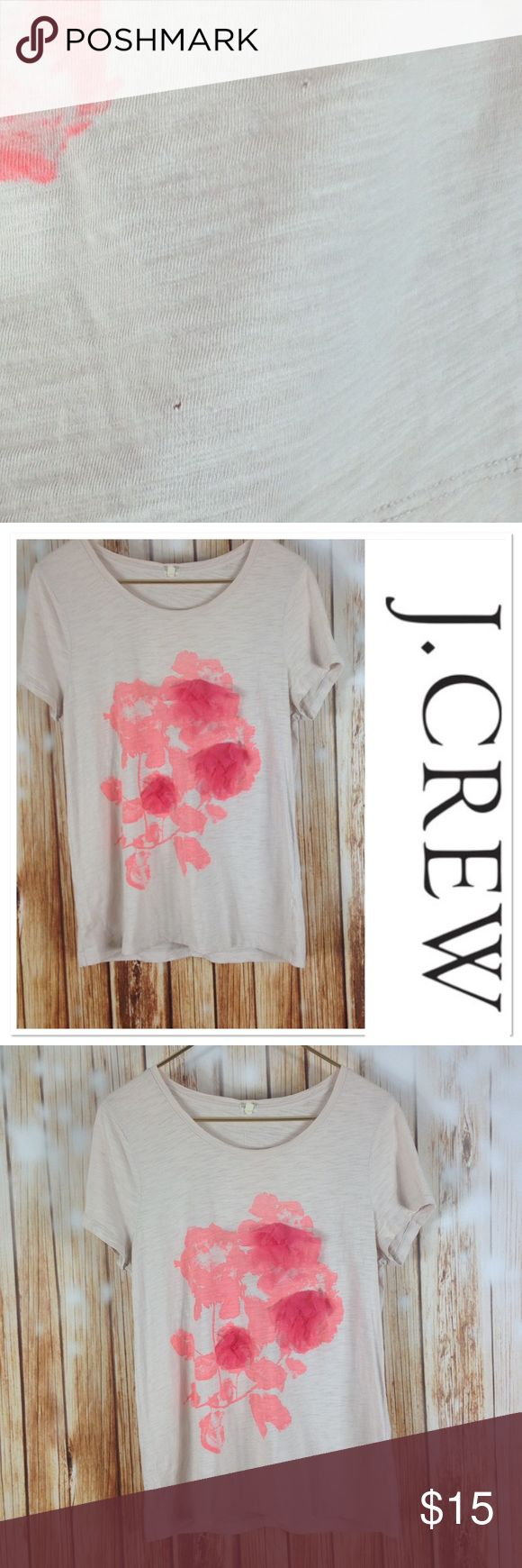 🌸Floral Tee🌸 This tee from J. Crew is super adorable! The fun ruffles on the front compliment the abstract pink design! It is a burnout material, meaning that in some parts it is a little see through. There are two holes in the shirt on the front but they are barely noticeable, especially with a tank top underneath! Have any questions? I bet I have answers so feel free to ask! Check out my closet so you can bundle and save! J. Crew Tops Tees - Short Sleeve