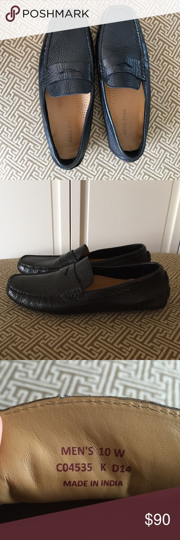 Worn once. Cole Haan loafers size 10 Wide. Black. This super-flexible penny driver has been meticulously crafted in soft pebbled leather and handsewn for durability. Perfect for travel or casual weekend looks. Worn once. Cole Haan Shoes Loafers & Slip-Ons