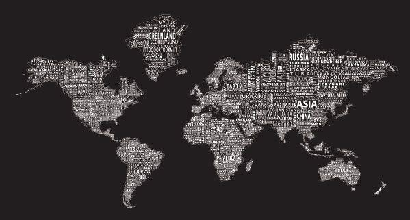 world text map mural