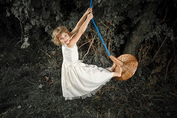 Rusalka柳条编织的创意儿童秋千 幸福荡起来
