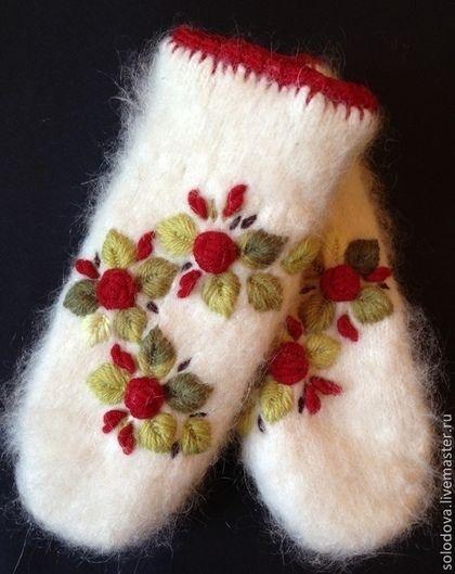 Варежки Розы Красные резерв - варежки,варежки с вышивкой,варежки с цветами
