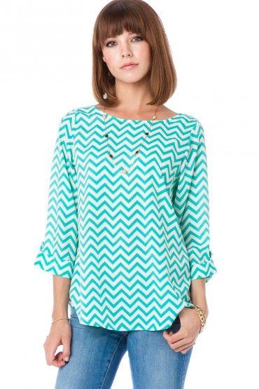 Turquoise chevron shirt -love!