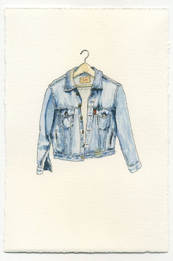 SALE. ORIGINAL Watercolor Illustration - Worn In Blue Grunge Denim Jean Jacket II. $80.00, via Etsy.