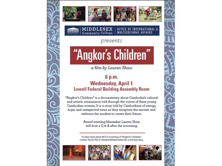 MCC to host a free screening of the film 'Angkor's Children' followed by a Q & A with award-winning filmmaker Lauren Shaw. #Lowell