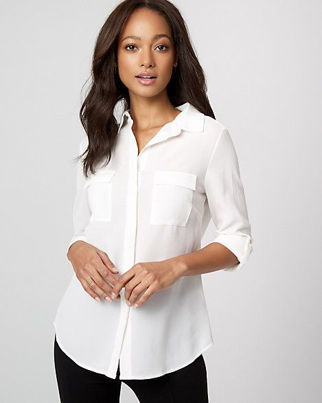 Crêpe de Chine Button-Front Blouse - Effortless and chic, this button-front blouse with easy roll-up sleeves can be worn any day of the week. #affiliate, #whiteblouse, #officewear, #womensfashion, #fashion, #whiteshirt, #buttondownshirt