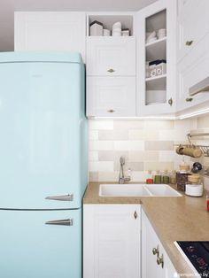 Дизайн кухни, холодильник на кухне, голубой холодильник