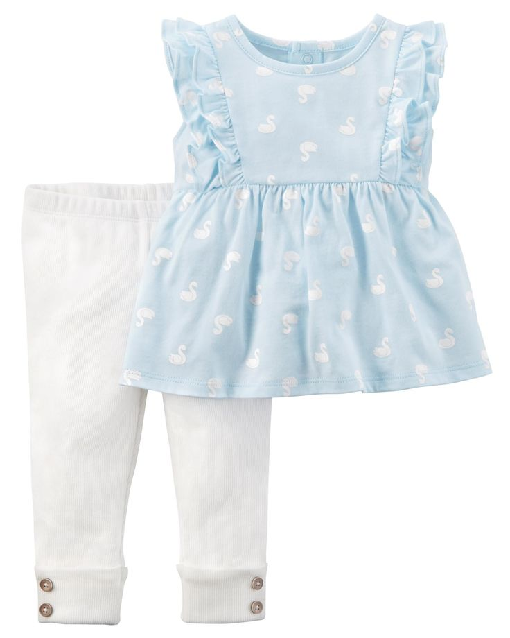 Featuring flutter detail and a sweet swan print with coordinating leggings, this 2-piece set makes a cute and easy outfit!