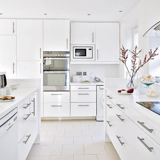 Floor To Ceiling Kitchen Cabinets Uk white gloss kitchen with floor to ceiling units | design de