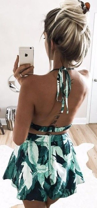 #summer #young #outfits | Palm Print Two Piece Set