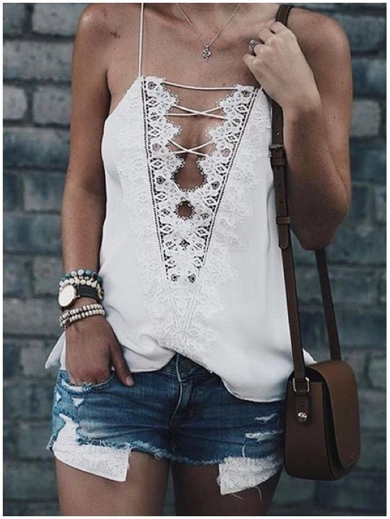 **** Stitch Fix 2017 fashion trends!  Love this gorgeous lace detail spaghetti strap and distressed Jean shorts outfit. Boho chic! Get beautiful hand selected styles just like this today!! Just click the picture to get started. Simply ask your stylist for trends like this one. #sponsored