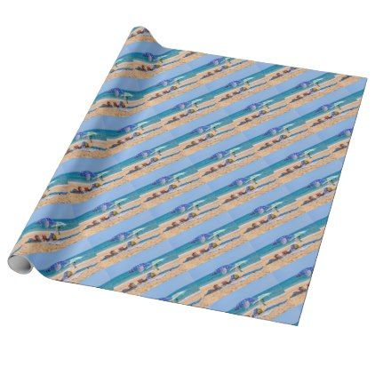 Two sun umbrellas and beach supplies at sea.JPG Wrapping Paper - wrapping paper custom diy cyo personalize unique present gift idea