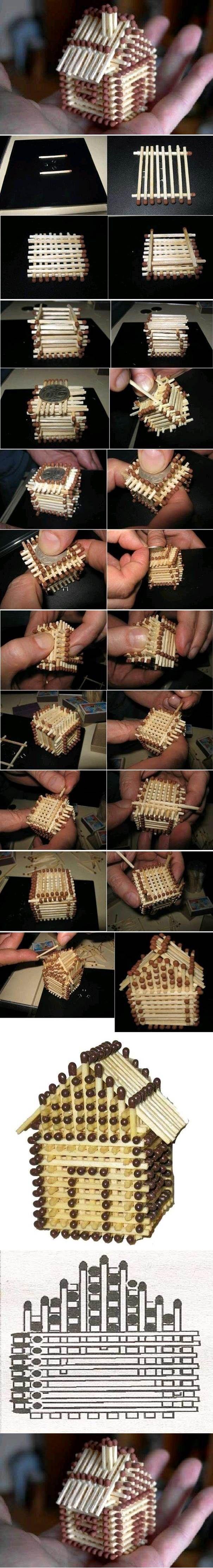 DIY Mini House with Matches | iCreativeIdeas.com Like Us on Facebook ==> https://www.facebook.com/icreativeideas