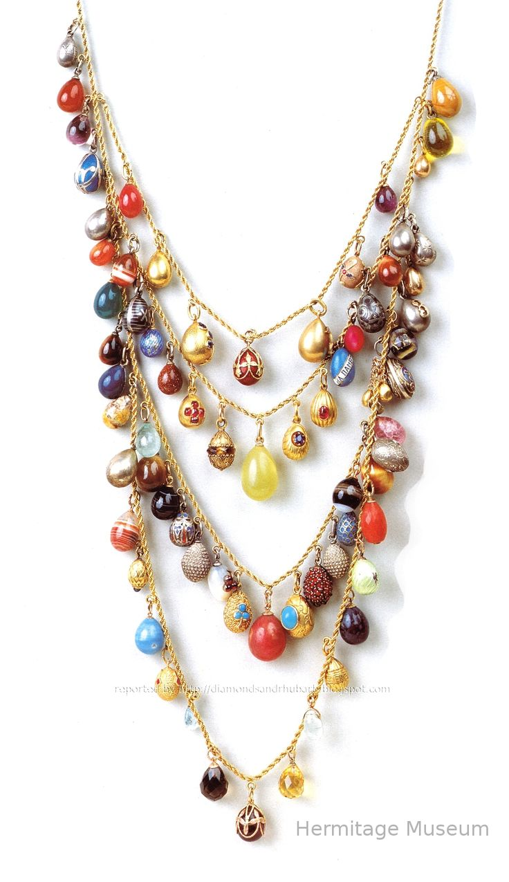 Faberge egg necklace, Hermitage museum. Would love one of these made with precious and semi-precious stones!
