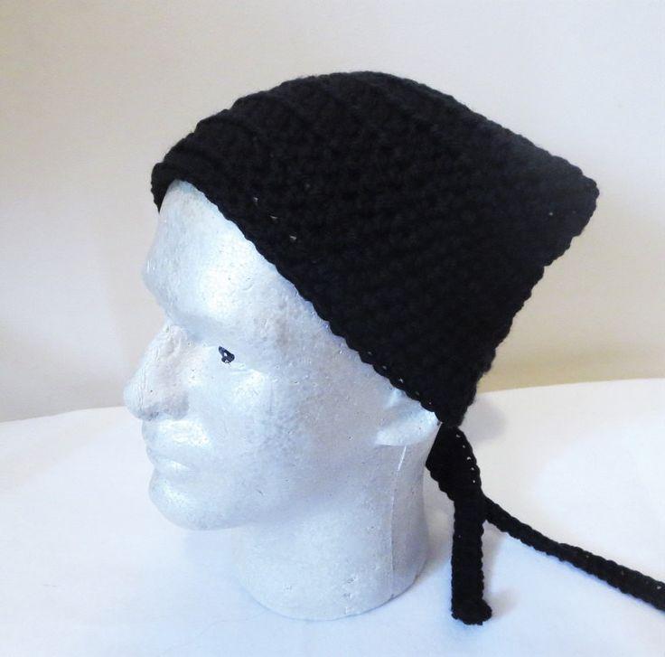 Black Kerchief, Black Bandana, Crochet Du-rag, Crochet Head Scarf, Tie on Kerchief, Crochet Kerchief by TiStephani on Etsy