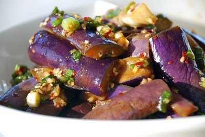 Gaji Namul/Muchim - Korean Steamed Eggplant Side Dish. Ingredients: eggplant, scallion, garlic, soy sauce, sesame oil, sugar, Korean red pepper flakes, sesame seeds, salt, pepper. Recipe from Korean Bapsang.