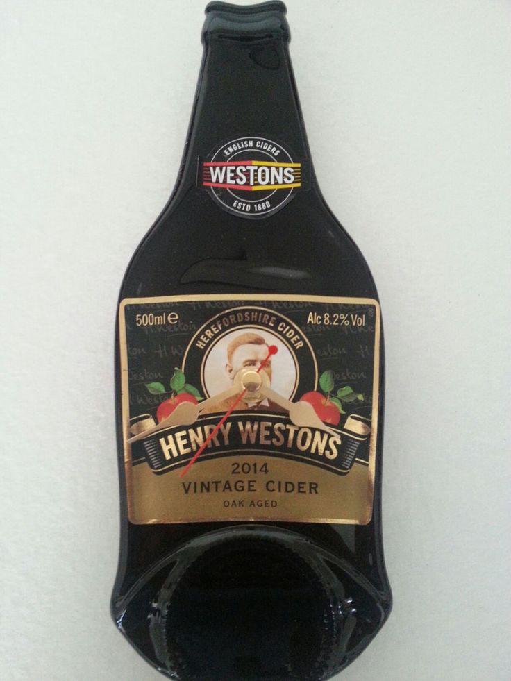 Henry Westons vintage oak aged English cider bottle clock by Aramica on Etsy