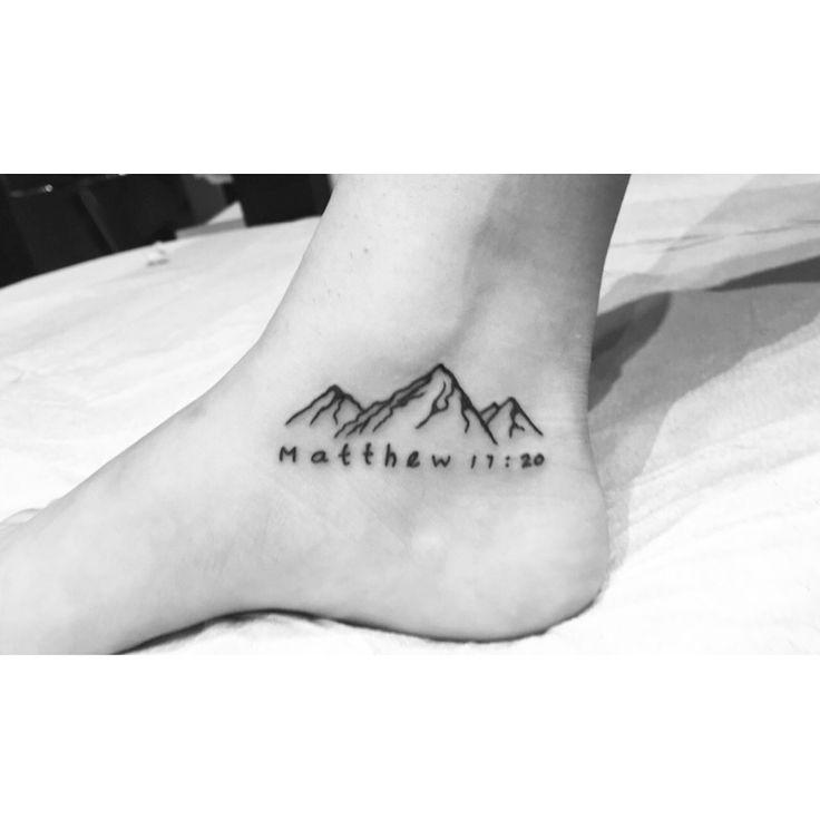 Matthew 17:20 tattoo w/ mountains