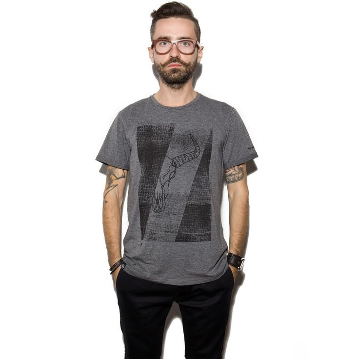 T-shirt męski OHIO TEE HEATHER GREY, od projektanta The Hive   Mustache.pl