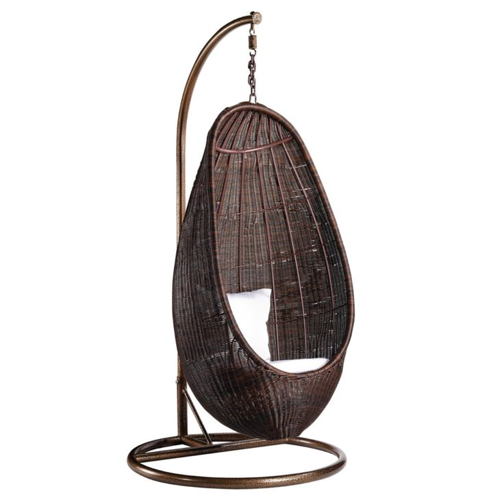Finemod Imports Modern Rattan Hanging Chair With Stand