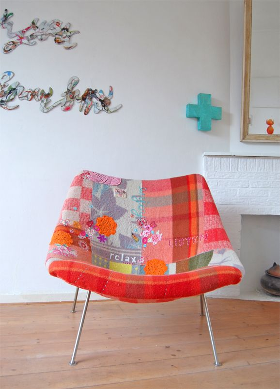 re-upholstering chairs and stools with blankets from alltheluckintheworldblog
