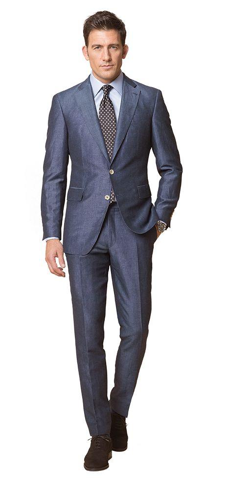 DOLZER Herren Anzug Blauer Leinenanzug mit leichtem Glanz Business