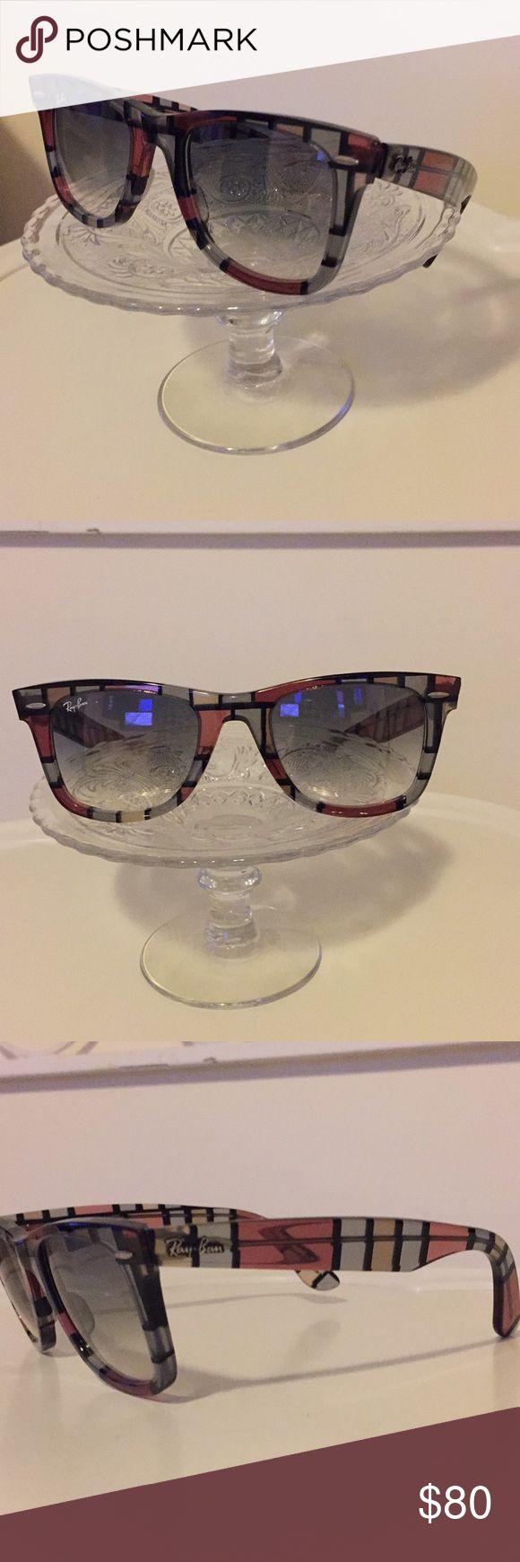RayBan wayfarer sunglasses RayBan special series plaid print (pink, grey/blue, clear, black). Grey/black lenses (gradient). Non-polarized. Ray-Ban Accessories Sunglasses
