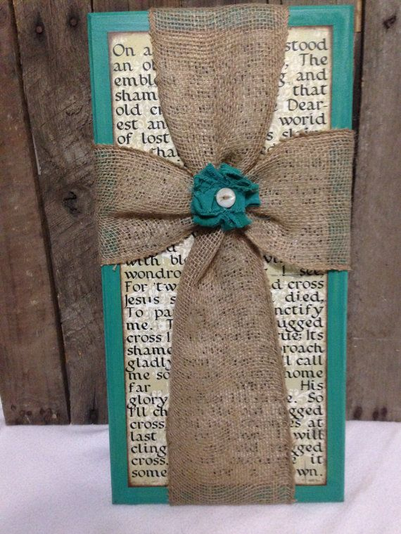Old Rugged Cross sign with Burlap Cross by bethborder on Etsy
