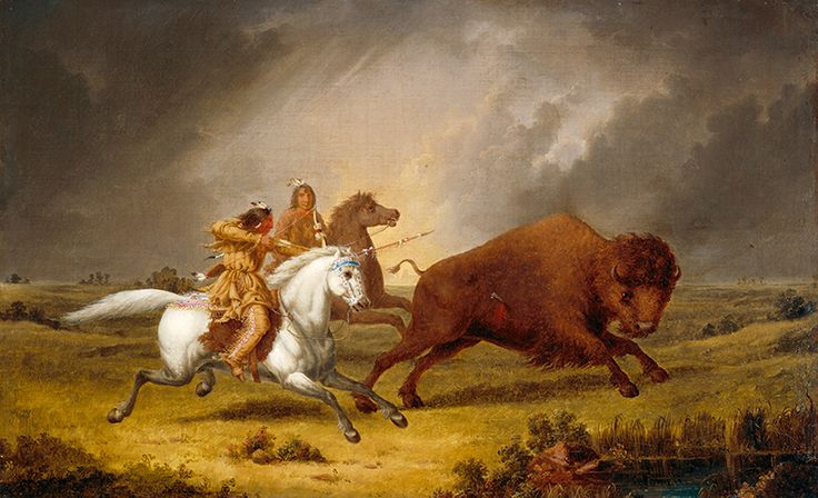 """Additional versions of some of Paul Kane's paintings exist—in most cases just one copy but in some cases two or even three. """"Assiniboine Hunting Buffalo,"""" c. 1851–56, National Gallery of Canada."""