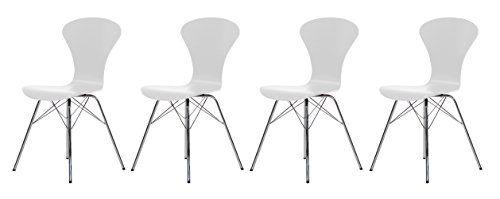 Tenzo 9121-801 Tequila 4-er Set Designer Stühle, Schale Schichtholz lackiert, Matt, 85 x 45 x 53 cm, weiß / chrom