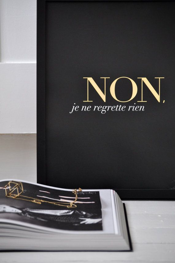 Non Je Ne Regrette Rien - Black - Small/ French Inspired Poster/ Lithographic/ Gold Foil on Etsy, 30,06€