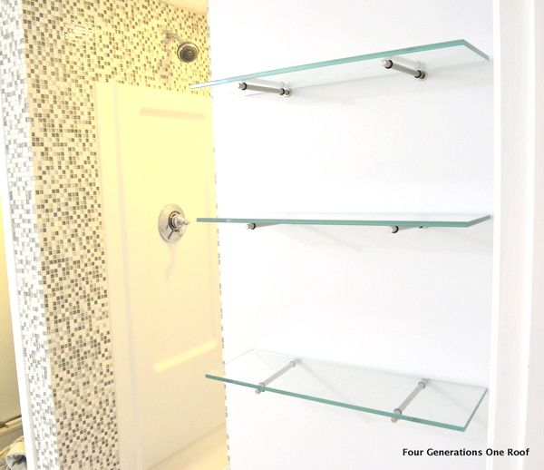 How to hang glass shelves using bingo brackets - Four Generations One Roof
