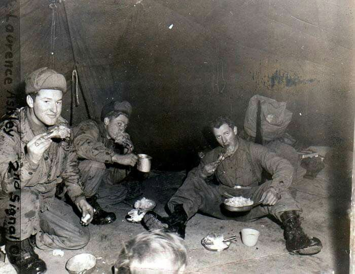 Christmas Dinner,Korea 1951. Co F, 9th Infantry,2nd Infantry Division.(US Army Infantry School/FB)