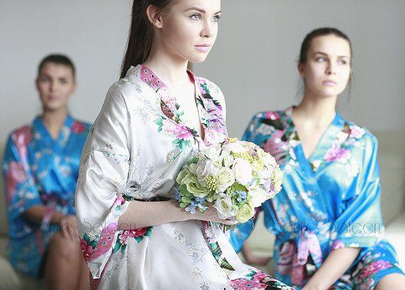 Ship from USA, Bridesmaid Satin Robe, Kimono Robe, Set of 1,2,3,4,5,6,7,8,9 Robes, Regular and Plus Size Robes