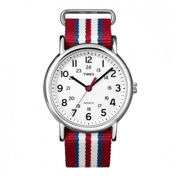 Timex T2N746 Weekender Slip Through (Red, White, Blue) (3,210 DOP) ❤ liked on Polyvore featuring men's fashion, men's jewelry, men's watches, mens blue watches, mens red watches, mens leather strap watches, mens stainless steel watches and mens white watches