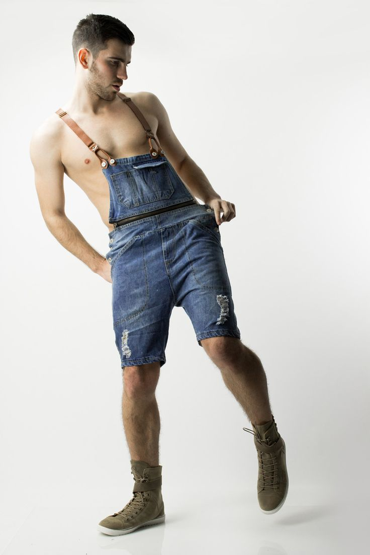 Denim Short Overalls by Glimms for men. Brown leather ...