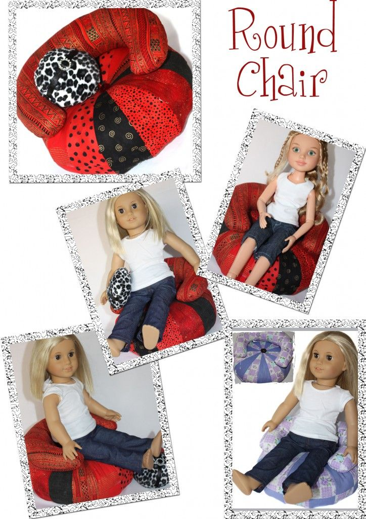 Pattern to create this cute round chair for your dolls by Doll Tag Clothing