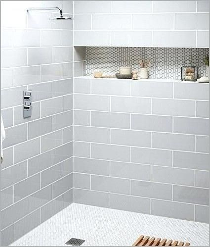 Light Gray Subway Tile Small Bathroom With Shower