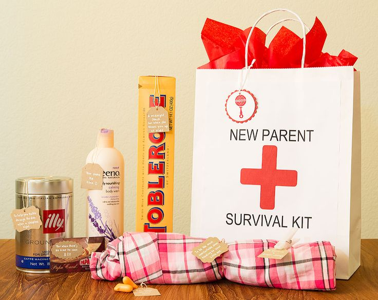 "New Parent Survival Kit| silkeshimazu  Pajama Bottoms: ""To be the most comfortable when tending to your little one""  Chocolate: ""A midnight snack for when she keeps you up at night""  Pizza Gift Card: ""For when there's no time to cook""  *Haribo Gummy Pacifiers: ""A sweet treat for you during midnight feedings""  Shower Gel: ""For some me time""  Coffee: ""To help you battle through the day after a sleepless night""  Clothespin: ""To survive a diaper change""  Ear plugs: ""For when all else fails"""