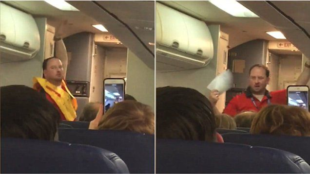 Flight attendant Nicholas Demore knew how to catch everyone's attention